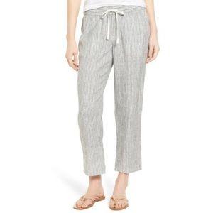 Caslon Linen Striped Cropped Pants